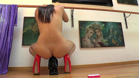 Curved up ass riding a statue with her anus solo Lola Foxx