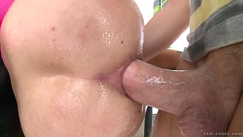 Big dick in prepared and oiled for ramming with ass on table leaking liquids Kacie Castle and ass eating mans anus