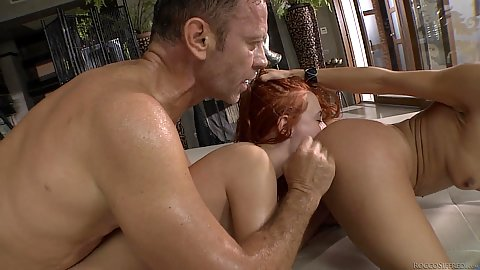 Redhead girl eats another brunettes anus while Rocco is going off at her bumhole Eva Berger and Samia Duarte and Misha Cross