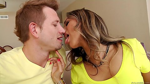 Kissing cheating clothed mifl wife Nadia Styles when husband is sitting in a chair watching and complaining