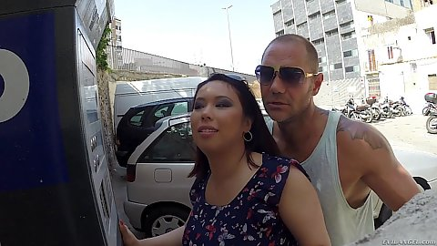 Asian public Tigerr Benson is mad and we pick her up on the public parking out outdoors she quickly shows us her gigantic boobs