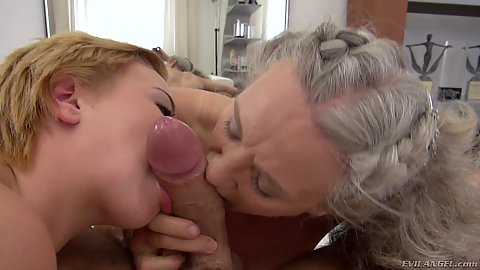 Grandma and young college girl share the chore of sucking big fucking dick in pov Elisa A and Tricia Teen ffm