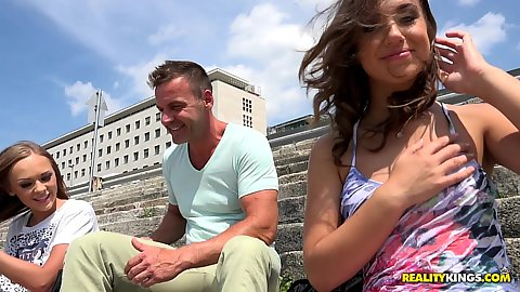 Lily G and Katarina Muti perky boobed euro girls picked up outdoors in public and brough them in for orgy