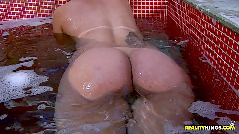 Intense ass shaking in water with big chested Brazilian latina glamcore solo posing Carol Paixao