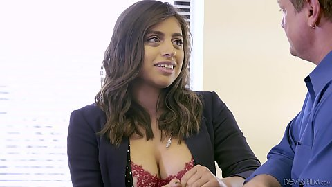 Fully clothed latina babe Ella Knox is an officer worker with very pretty face