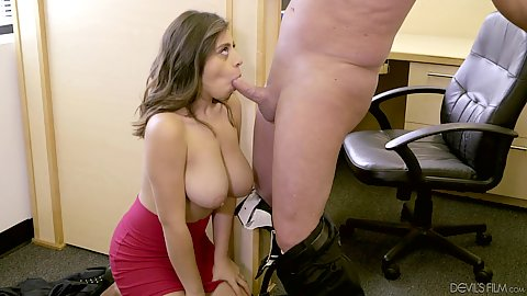 Large meloned milf latina office deep throat sucker Ella Knox also does titty fuck too