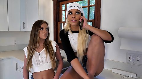 Two latina fully clothed college suckers Summer Brooks and Carmen Caliente