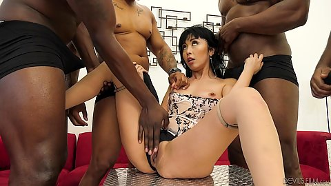 Asian skinny girl fucked rough and handled hard in black cock asian girl gang bang Marica Hase