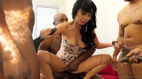Asian girl humps a big black cock and jerks others with her hand Marica Hase in black cock asian girl gang bang