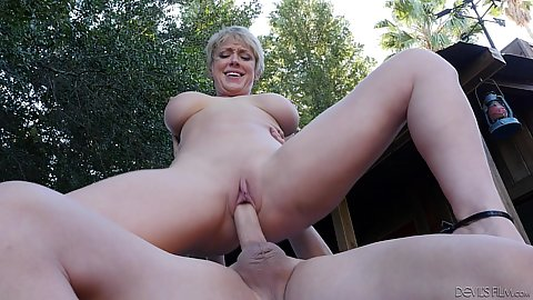 Hairless vagina busty milf dick jumping and cumshot on boobs chest and mouth Dee Williams
