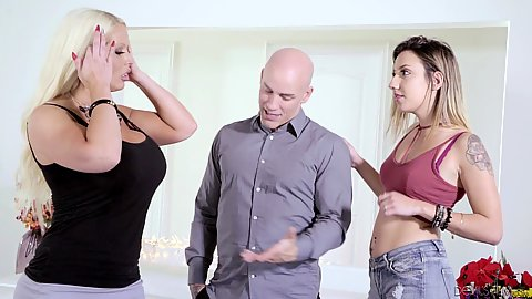 Alura Jenson and Sophia Grace Husband showing his big chested wife that his mistress from work is ready for threeway