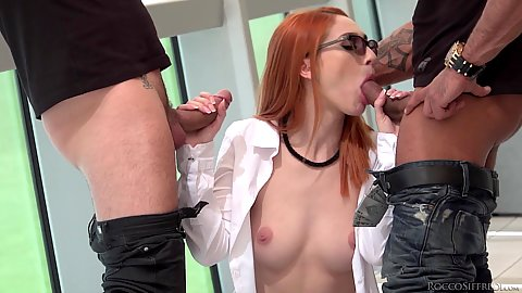 Small boobed redhead in glasses and her friends do fuck Canela Skin and Megan Inky and Luna Melba