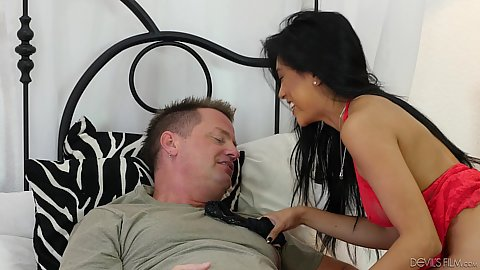 Smashing lingerie asian Ember Snow feeting some food to guy in bed who is a bit ill today