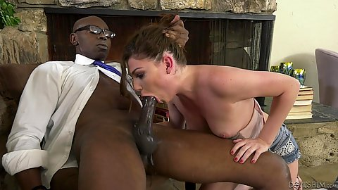 Large black cock sloppy blowing with insatiable little Jessica Rex working big black dong
