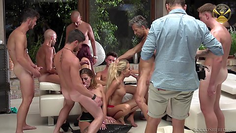 Deep throating gagging and saliva slobbering all over in group orgy Joanna Bujoli and Lyen Parker and Shona River and Silvia Dellai