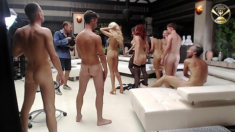 Girls in for deep throat gaggathon with cum eatin gand swapping brunette blonde and redhead Eveline Dellai and Malena and Joanna Bujoli and Silvia Lamberti