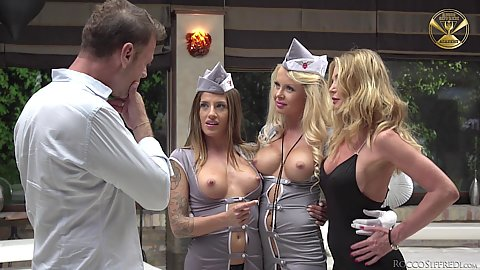 Group of flight attendants Eveline Dellai and Silvia Dellai and Joanna Bujoli and Blueangy expose boobies and do group sex