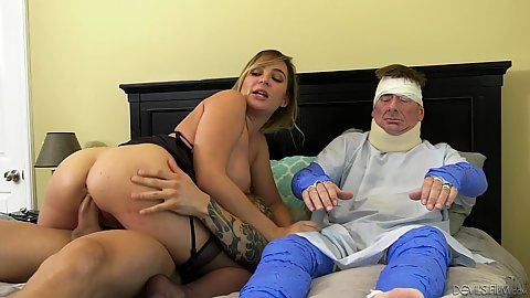 Cheating riding dick wife Blair Williams making huband in pain after accident regret being in cuckold