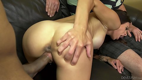 Cuckold husband must watch his super sexy milf wife with large boobs and great abs Eva Long having sex with another man
