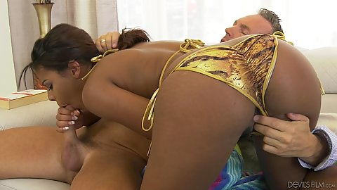 Blowjob and fingering with sexy tiger bikini ebony Zoey Reyes