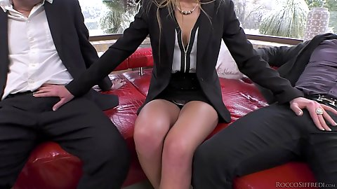 Fully dressed up Alexis Crystal is here to make two big dicks hard in mmf