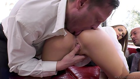 Willing Alexis Crystal is here to sit on monster dicks in threesome after her ass is rimmed