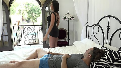Maya Kendrick and Makayla Cox sexy milf in clothes attacking cock