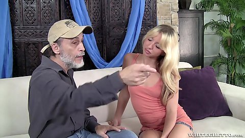 Blonde girl Angie Sweet likes fucking her bffs dads dick and sucking it too