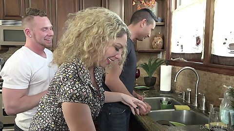 Wife doing some dishes in the kitchen Kiki Daire and bisexual husband brings home his lover