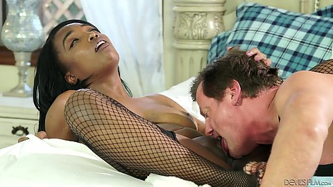 Cunnilingus and cowgirl interracial fishnet natural boobed black girl Daya Knight poking with white penis