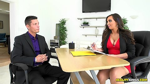 Big breasted cleavage milf Sydney Leathers doing some office work before flipping out her tits