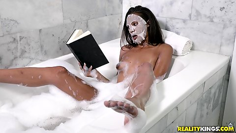Impressive little latina Cecilia Fox taking a bath having a face mask and reading a book then gets laid