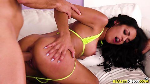 latina with pulled down bikini bottom Vienna Black rammed well and hard