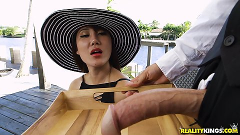 Asian milf Tiffany Rain called waiter and he delivered dick on a platter