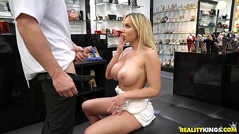 Big boobed milf Olivia Austin is at a loss in a shoe store its like carnaval for her and she just keeps on picking shoes