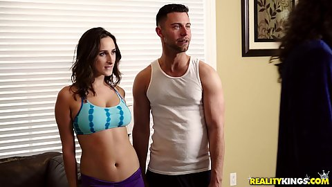 Sexy lathletic college girl in yoga pants Ashley Adams has a thing for her personal trainer