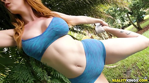 Outdoor workout milf redhead Lauren Phillips wearing a sexy tight outfit stretching by a tree outdoors then ass licked in shower