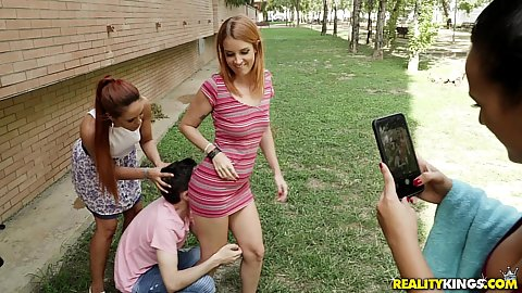 Irina Vega and Claudia Bavel and Gala Brown doing some photography in the wild and then 3 on 1 oral
