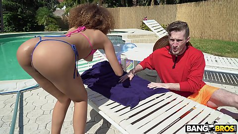 Pool boy getting some action today with interesting slim black girl Cecilia Lion