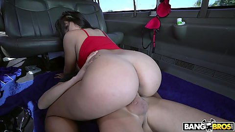 Glittering thick booty girl Julz Gotti cock humping on the minibus floor