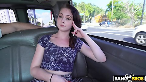 Nice faced 20 year old amateur first timer Athena Rayne ends up on bangbus and flahes her boobies