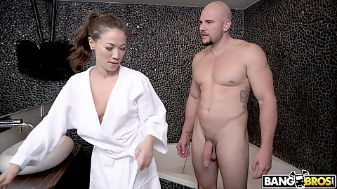 Kalina Ryu is getting ready for a lovely shower based soapy massage with guy in her bathrobe