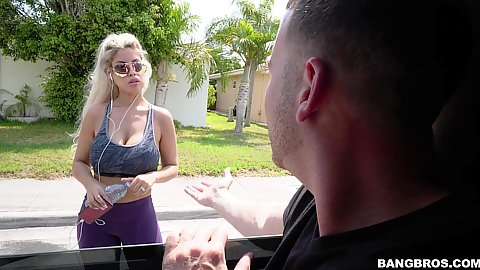 Big boobed fully clothed blonde milf Bridgette B was doing her workout outdoors listening to music we picked her up quickly