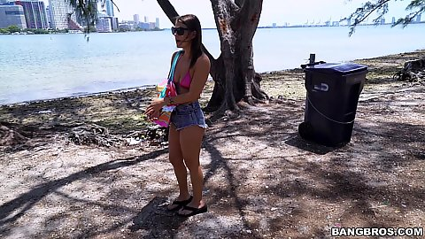 Public park walking Evelin Stone caught going to a beach in the park