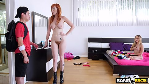 Lauren Phillips and Lilly Ford have a boy walk in on their stepmom and stepdaughter alone time and they invite his dick in for a threeway