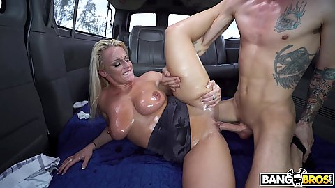 Oiled body and natural chested blonde slut Paris Knight hard nailed and cumshot shooting right all over her face making quite the facial mess
