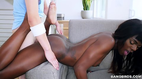 Interacial cute black stepsister screwing with Ana Foxxx enjoying it every bit and even helps cock shoot the last bit of semen in her open mouth
