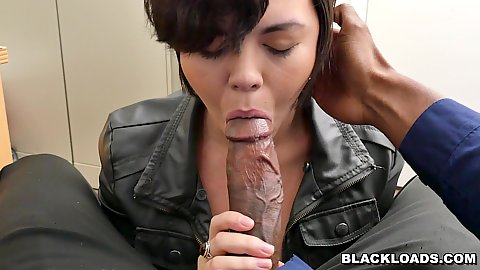 Steaming girl in a leather jacket Sydney Sky pov oral and head held in place deep throat in office chair