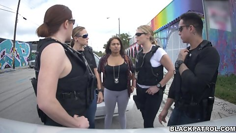 Fake arrest is coming along with hunting for large and girthy black penis Joslyn and Maggie Green