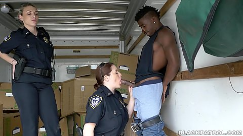 Quicky fuck with an arrest big black shaft for two deep throat willing to get satisfied white milf police females